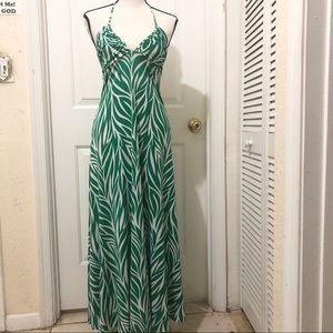 Fire Los Angeles Earthy Green and White Maxi Dress